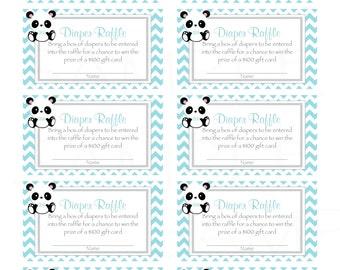 Baby Panda Baby Shower Diaper Raffle ticket -(Printable JPG File)