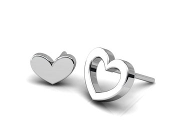 Asymmetrical Heart Shape Earrings, Flat Silver Studs, Unique and simply modern jewelry, Handmade by Gwen Park Designs