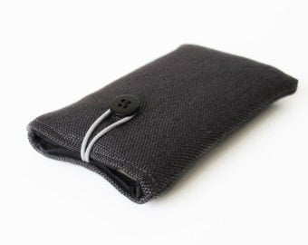 Case for iPhone 5s plus gray sleeve for mobile phone handmade cover black plain anthracite fabric 5 5S 5C