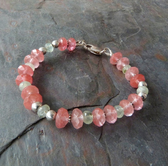 Watermelon Quartz Braclet with Prehnite & Sterling Silver, Handmade, Pink and Green