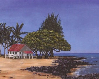 Seascape South Pacific Hawaiian Beach House -- gallery quality giclee