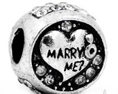 Marry Me European Charm Bead With Rhinestone Accents - Marriage Proposal, Engagement Gift Bead For All European Charm Bracelets