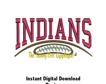 DD INDIANS Game Day Machine Embr Design - 2 Sizes - 6 Titles - Onesie - QB Football or Rally Towels - Totes - Tees - Instant Download