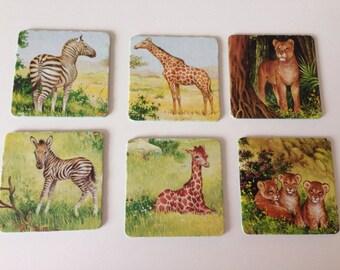 Vintage Jumbo Memory Animal  Playing Cards/ Set of 6 / No 5