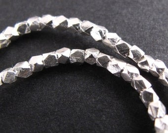 Silver Nugget Beads, Fine Silver Karen Hill Tribe 1.5 - 2 mm Facet Spacer Beads, .9mm hole (3 inches)