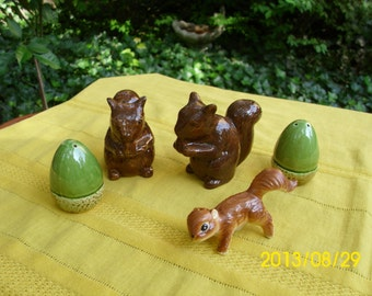 Vintage Squirrel and Acorn/Nut Salt & Pepper Shakers-Fall/Thanksgiving/Holiday/Collectable/Decoration/Display