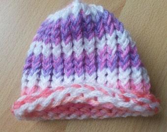 Knit newborn baby hat multicolor