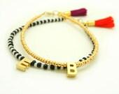 Gold Monogram Bracelet with Raspberry Tassel - Tiny Matte Gold Initial Bracelet - Beaded Bracelet - Personalized Seed Bead Bracelet