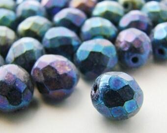 Czech Glass Faceted Blue Iris 8mm Round Beads - 20