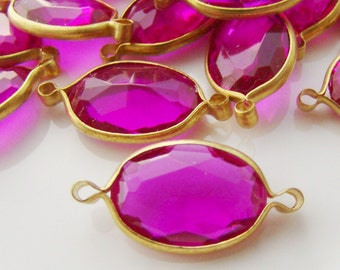 Large Vintage Fuchsia Pink Lucite Jewels Channel Set Brass Connectors - 4