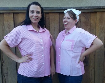Twin Pink Vintage Ladies Shirts (The Striped One) - Size XL-XXL