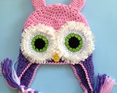 READY TO SHIP.Two Tone Owl Sensation Earflap Beanie with Braids for Girl 1 To 3 Years.in Pink and Lavender.