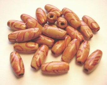 Wood Oval Beads 15x7 mm - 50 Count