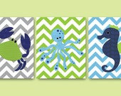 Sea Crab Nursery Baby Boy Nursery Art Print Childrens Wall Art Baby Room Decor Kids Print Baby Art set of 3 8x10 Seahorse Octopus Blue Green