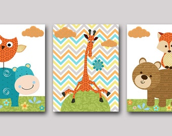 Fox Nursery Giraffe Nursery Owl Nursery Baby Boy Nursery Art Print Childrens Wall Art Baby Room Decor Kids Art set of 3 Blue Hippopotmus