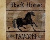 Primitive Black Horse Tavern Pub Sign Feedsack Feed Sack Logo Printable Digital Instant Download JPEG - Pillows,Framed Prints,Labels, Wood