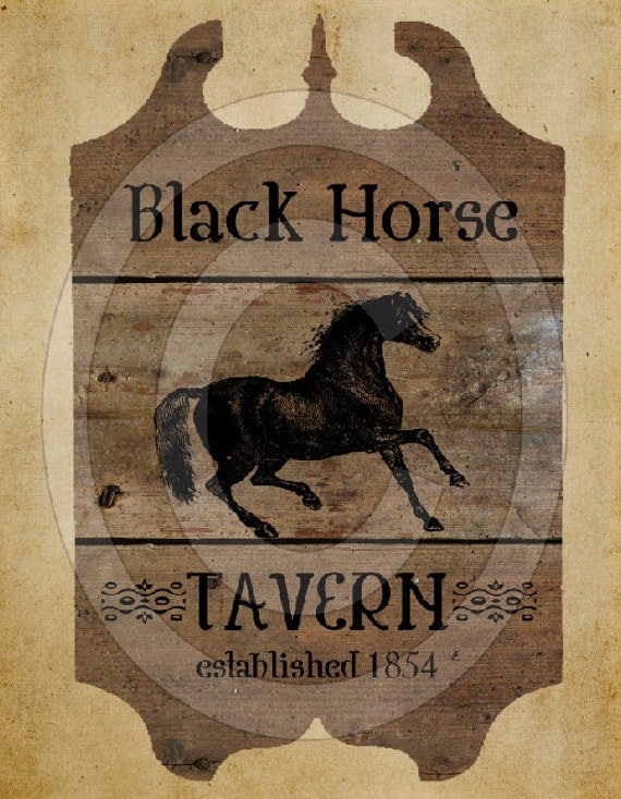 Primitive Black Horse Tavern Pub Sign Feedsack Feed Sack Logo