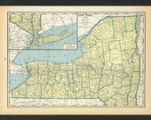 Vintage Map of New York From 1935 Original