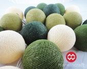 20 Big Cotton Balls Green Navy Color Tone Fairy String Lights Party Patio Wedding Floor Table or Hanging Gift Home Decor Christmas Bedroom