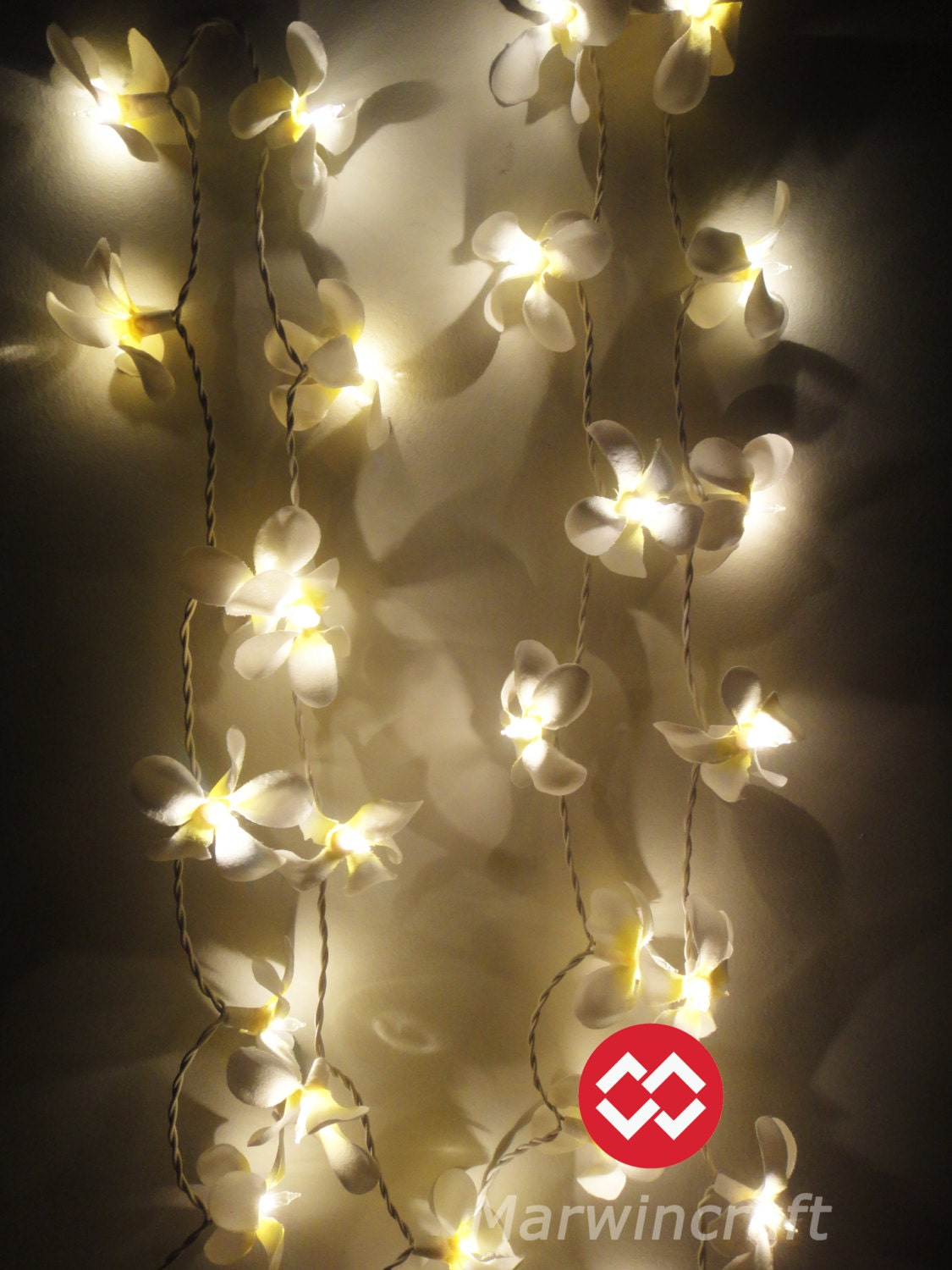 35 Globes White Frangipani Fairy Lights String Accent Floral