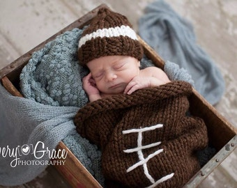 Baby Football Beanie and Cocoon hand knitted