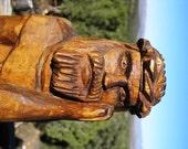 Pensive Christ Wood Carving, Signed Pensive Christ,  Rustic Primitive Folk Art,  Near Mint