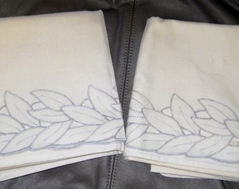 Vintage Cotton Pillowcases Standard, Floral stitched edging, Great Set of Two