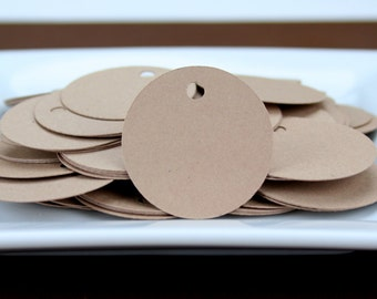 "100 - 1.25"" Kraft Tags with 25 Yards Baker's Twine / Jewelry Tag / Product Tag / Merchandise Tag / Label"