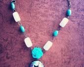 OOAK**Pink & Turquoise Kitty Kat  Cameo Gemstone Necklace, cat jewelry, gemstone jewelry.