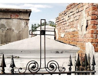 New Orleans Cemetery Photo - Tomb Cross Print - New Orleans Photography