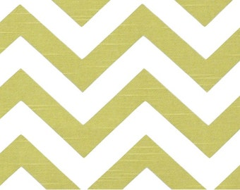 Green White Zig Zag - 1 Yard Artist Green Slub Chevron - Apple Green  White Zig Zag - Premier Print Decorator Fabric