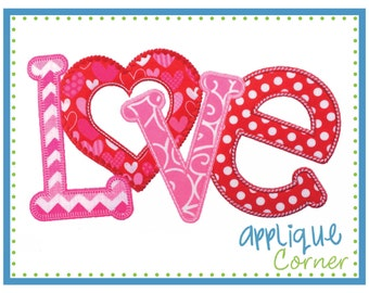 INSTANT DOWNLOAD Love Horizontal Valentine's Day applique design in digital format for embroidery machine by Applique Corner