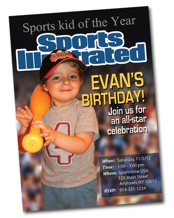 Sports Magazine Cover Personalized Birthday Invitation – Magazine Cover Birthday Invitations