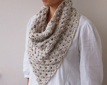 Crochet PATTERN triangle scarf granny cowl neckwarmer infinity loop woman scarf circle scarf DIY tutorial Instant download