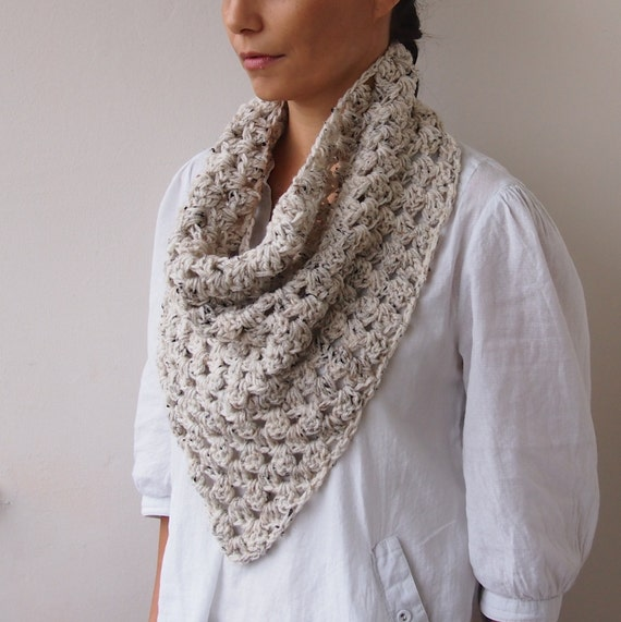 Free Triangle Infinity Scarf Crochet Pattern : Crochet PATTERN triangle scarf granny cowl neckwarmer infinity