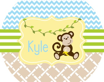 Kids Plate Personalized Melamine Plate Childrens Dinnerware Toddler Boy Monkey Plate