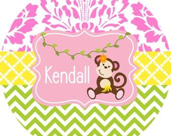 Personalized Melamine Childrens Plate Toddler Dinnerware Kids Plate Girl Monkey