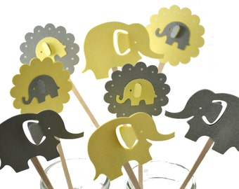 12 Yellow & Grey Elephant Cupcake Toppers /Elephant Baby Shower/Elephant Party Decor/Elephant Cake Topper/ Baby Shower