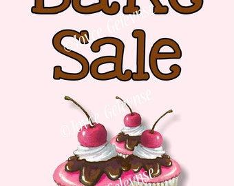 Printable Bake Sale Sign with Artwork of Cupcakes: Pink and Brown, Chocolate and PInk Icing, You Print