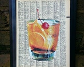 CUSTOM for Toni- Fun Retro Cocktail with Cherry- Framed Picture Made from Recycled Dictionary Paper and Life Magazine