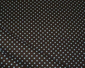 HIL-TeX cotton fabric - Brown light blue dots