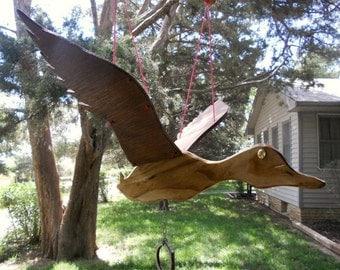 Flying Duck Wooden Mobile Yard Garden Art