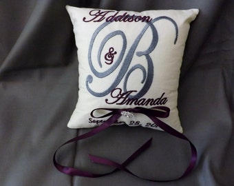 Monogram Custom Ring Bearer Pillow