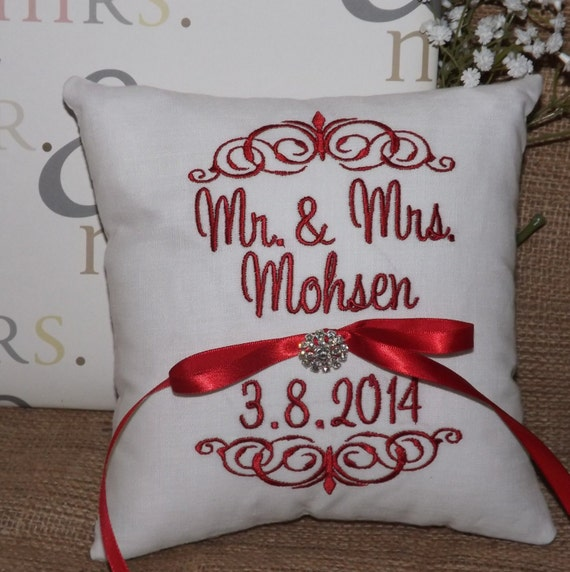 Monogram Wedding Ring Bearer Pillow: Items Similar To Ring Bearer Pillow, Mr & Mrs. Ring Pillow