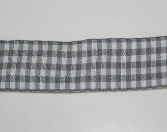 """Grey Gingham Decorative Ribbon 1-1/8"""" Width Trim Wedding Bows Scrapbook 1 Yard"""