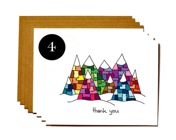 Thank you set of 4 notecards - Patchwork mountains