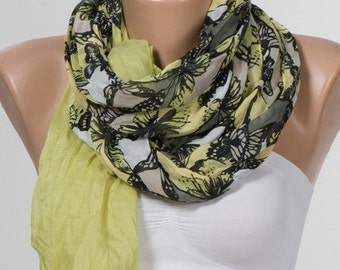 Big sale. Butterflies SCARF. Elegant Shawl. Green and Black and Cream. Soft Cotton Light Weight Scarf.