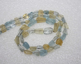 Natural AAA Quality Multi Aquamarine 4X6 to 6X10mm Smooth Tumble Gemstone Beads 15 Inches BA096