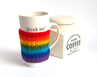 SALE - 50%OFF. Rainbow Knit Coffee Cup Cozy. Knitted Mug Cozy. Knit Tea Cup Cosy.