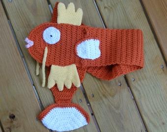 Orange fighting fish crochet scarf Magikarp inspired